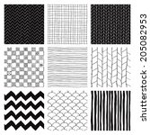 set of nine abstract hand drawn ... | Shutterstock .eps vector #205082953