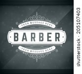 barber shop vintage retro... | Shutterstock .eps vector #205107403