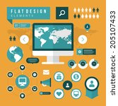 business concept social media... | Shutterstock .eps vector #205107433