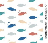 shoal of fishes. multicolored... | Shutterstock .eps vector #205230877