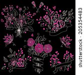 set of hand drawn cute floral... | Shutterstock .eps vector #205354483
