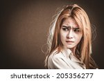 Small photo of Glamorous young woman looking with reproof, Color effect