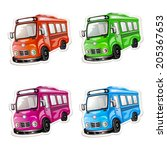 bus icon set. color car... | Shutterstock .eps vector #205367653