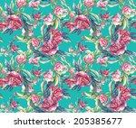 peonies seamless pattern.  | Shutterstock . vector #205385677