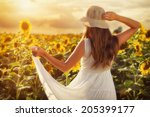 Sunset Sunflower   Young Woman...
