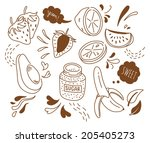 set of fruit doodle isolated on ...