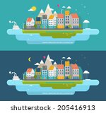 Flat Style Urban Landscape. Small Town on the Shore of the Ocean. - stock vector
