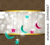 hanging moon and stars with... | Shutterstock .eps vector #205440067