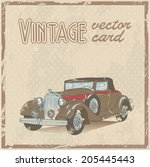 retro 50s car stylish vintage... | Shutterstock .eps vector #205445443