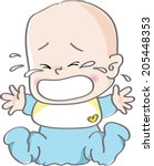 a crying baby | Shutterstock . vector #205448353