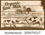 vintage organic raw milk sign | Shutterstock .eps vector #205479217