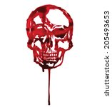 hand drawn human bloody skull... | Shutterstock .eps vector #205493653