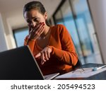 young business  woman working... | Shutterstock . vector #205494523