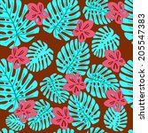 monstera. seamless vector... | Shutterstock .eps vector #205547383