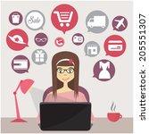 online shopping concept | Shutterstock .eps vector #205551307