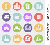buildings flat design icon set | Shutterstock . vector #205560913
