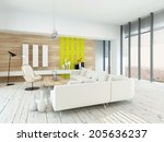 bright airy living room with... | Shutterstock . vector #205636237