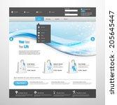blue business website template... | Shutterstock .eps vector #205645447