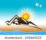 snow mountain indicating flock... | Shutterstock . vector #205665223