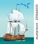 sailing ship in the sea. vector ... | Shutterstock .eps vector #205666033