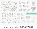 Stock vector hand drawn vintage floral elements set of flowers icons and decorative elements 205667437