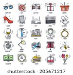 retail and shopping icon set.... | Shutterstock .eps vector #205671217