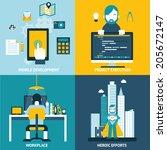 web development studio...   Shutterstock .eps vector #205672147