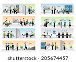 business people set   isolated... | Shutterstock .eps vector #205674457