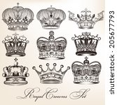 vector set of crowns for your... | Shutterstock .eps vector #205677793