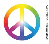 peace symbol with circular... | Shutterstock .eps vector #205687297