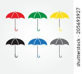 umbrellacolor  icon color set | Shutterstock .eps vector #205693927