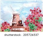 windmill and flowers | Shutterstock . vector #205726537
