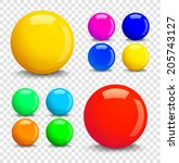 set of colorful glossy spheres... | Shutterstock .eps vector #205743127