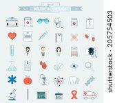 set of simple flat medical...   Shutterstock .eps vector #205754503