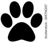 Stock vector paw print 205756207