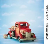 old antique toy truck carrying... | Shutterstock . vector #205759333