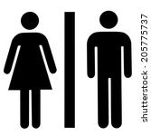 a lady and a man toilet sign on ... | Shutterstock .eps vector #205775737
