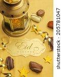 a golden plaque with 'eid... | Shutterstock . vector #205781047