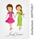cute little girls holding hands ... | Shutterstock .eps vector #205791817