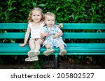 funny little children brother... | Shutterstock . vector #205802527