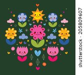 cute cartoon flower characters... | Shutterstock . vector #205809607