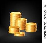 stacks of gold coins  vector   Shutterstock .eps vector #205822243