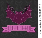 halloween card with bat and... | Shutterstock .eps vector #205842613