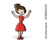 cartoon woman with raised arms | Shutterstock . vector #205860103