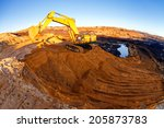 open mining pit with heavy... | Shutterstock . vector #205873783
