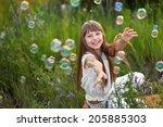 portrait of little girl... | Shutterstock . vector #205885303