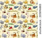 savannah animals with... | Shutterstock .eps vector #205896883