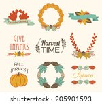 autumn fall elements and labels | Shutterstock .eps vector #205901593
