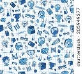hand drawn seamless school... | Shutterstock .eps vector #205949377