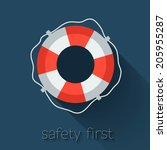 lifebuoy icon in flat style....   Shutterstock .eps vector #205955287